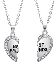 Rhinestone Engraved Friends Friendship Heart Necklaces