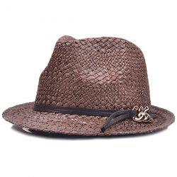 Chain PU Straps Embellished Straw Jazz Hat