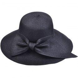 Large Bowknot Embellished Brimmed Straw Bucket Hat - BLACK