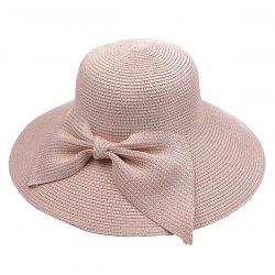 Large Bowknot Embellished Brimmed Straw Bucket Hat - PINK