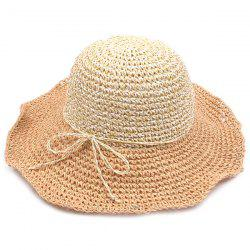 Color Block Beach Straw Fedora Hat with Flouncing