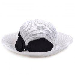 Flanging Bowknot Bowler Straw Hat