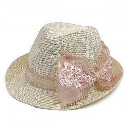 Lace bowknot Band Straw Fedora Hat