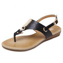 Metal Detail Flip Flop Sandals - BLACK