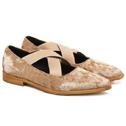 Criss Cross Velvet Flat Shoes - APRICOT