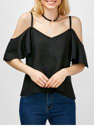 Spaghetti Strap Cold Shoulder Blouse