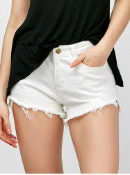 High Waisted Asymmetrical Fringed Jean Shorts - WHITE