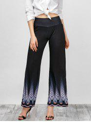 High Rise Imprimé Pantalon large - Noir