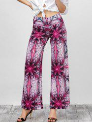 Ornate Print Long Palazzo Wide Leg Pants