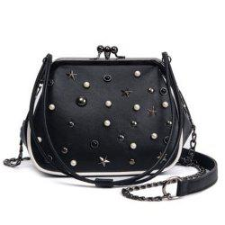 Beaded Star Rivet Kisslock Cross Body Bag
