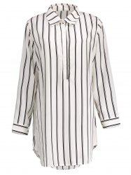 Plus Size Half Button Stripe Linen Short Shirt Dress