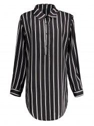Plus Size Striped Linen Short Tunic Shirt Dress