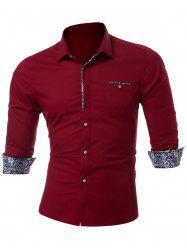 Chest Pocket Slim Fit Shirt - WINE RED