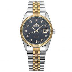 CHENXI Metallic Strap Rhinestone Date Watch - BLACK