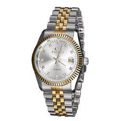 CHENXI Metallic Strap Rhinestone Date Watch - MILK WHITE