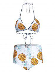 Cute Pineapple Print High Waisted Halter Bathing Suit -