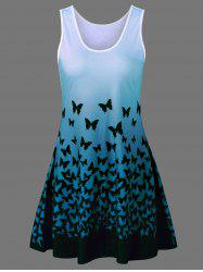 Plus Size Butterfly Print Ombre Tank Dress