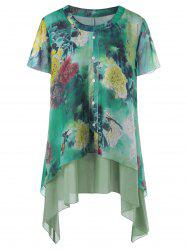 Plus Size Peony Asymmetrical Layered Blouse