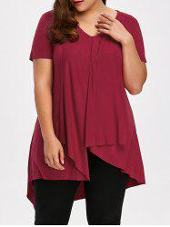 Longline Asymmetric Plus Size V Neck T-Shirt