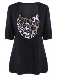 Plus Size Leopard Panel Henley Blouse