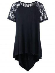 Plus Size Lace Insert Long High Low T-Shirt
