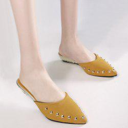 Metal Rivets Pointed Toe Slippers - GINGER