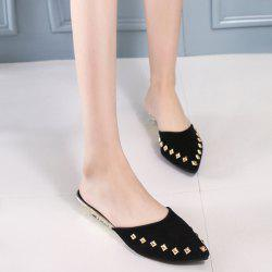 Metal Rivets Pointed Toe Slippers - BLACK