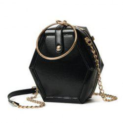 Metal Ring Hexagonal Shaped Crossbody Bag - BLACK