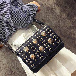 Punk Studded Wide Strap Crossbody Bag
