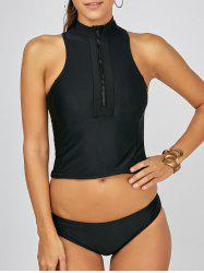 Zipper Racerback High Neck Tankini Bathing Suit