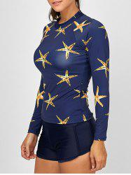 Starfish Print Long Sleeve Two Piece Swimsuit