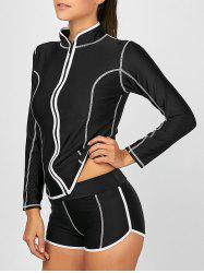 Long Sleeve Zip Up High Neck Tankini Bathing Suit - BLACK