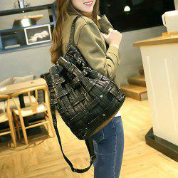 Casual Woven Faux Leather Backpack