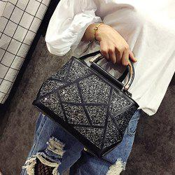 Faux Leather Sequin Insert Handbag