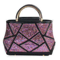 Faux Leather Sequin Insert Handbag - PURPLE