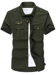 Patched Short Sleeve Cargo Military Shirt -