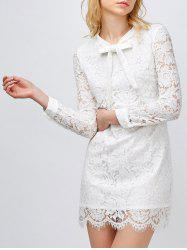 Bow Neck Lace Mini Robe moulante - Blanc