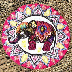 Thailand Elephant Mandala Round Beach Throw -