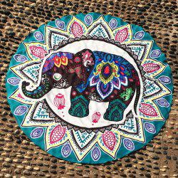 Thailand Elephant Mandala Round Beach Throw