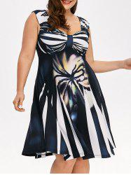 Plus Size Bowknot Printed Flowing Dress