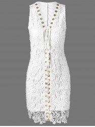 Lace Up Crochet Wedding Bodycon Dress - WHITE