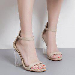 Clear Heel Ankle Strap Sandals