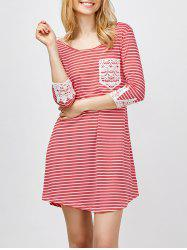 Lace Panel Striped A Line Mini Casual Dress