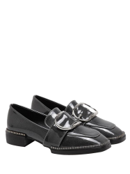 Belt Buckle Patent Leather Flat Shoes