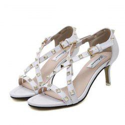 Kitten Heel Metal Rivets Sandals