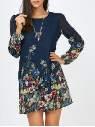 Floral Long Sleeve Chiffon Short Casual Dress - CERULEAN