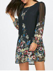 Floral Long Sleeve Chiffon Short Shift Casual Dress -