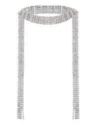 Fringed Rhinestone Wrap Necklace