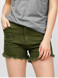 High Rise Distressed Fringed Shorts