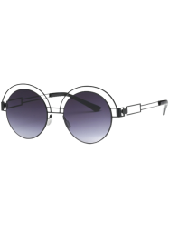 Hollow Out Leg Metal Round Sunglasses -